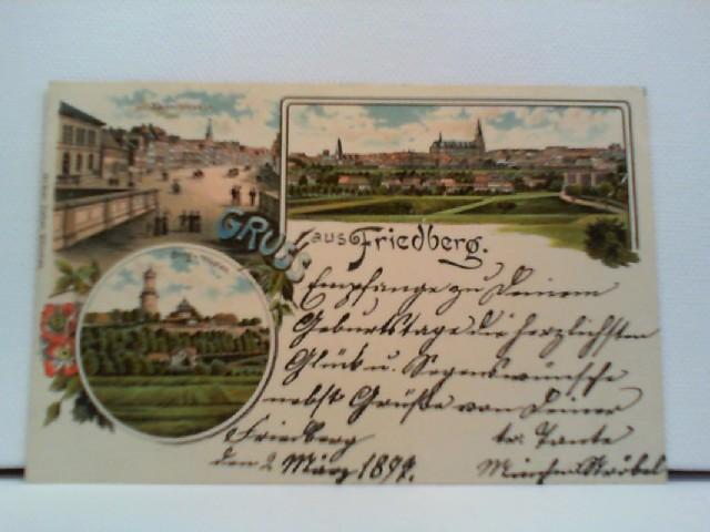 AK Gruss aus Friedberg; Lithographie; Kaiserstrasse, Ortspanorama, Burg v. Westen