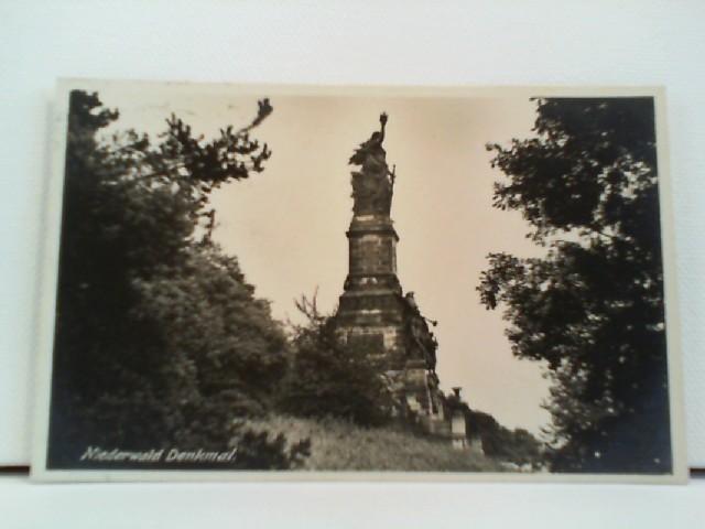 Foto-AK Niederwald Denkmal; seitliche Ansicht aus dem Wald