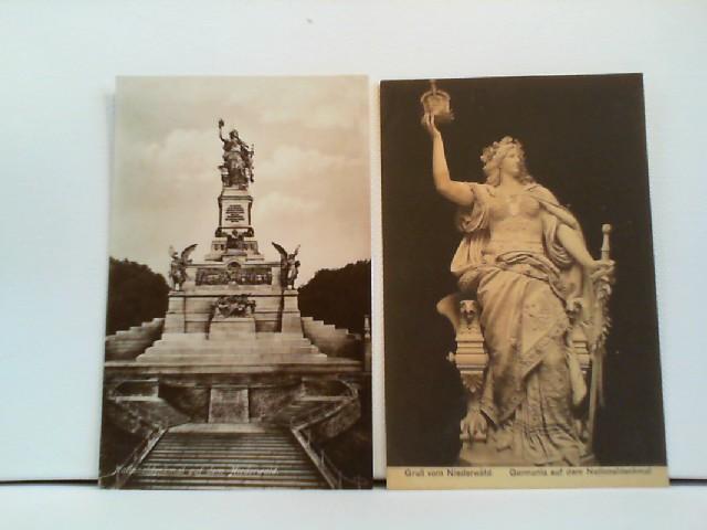 2 Foto-AK Nationaldenkmal auf dem Niederwald; Gesamtaufnahme und Detail (Germania)