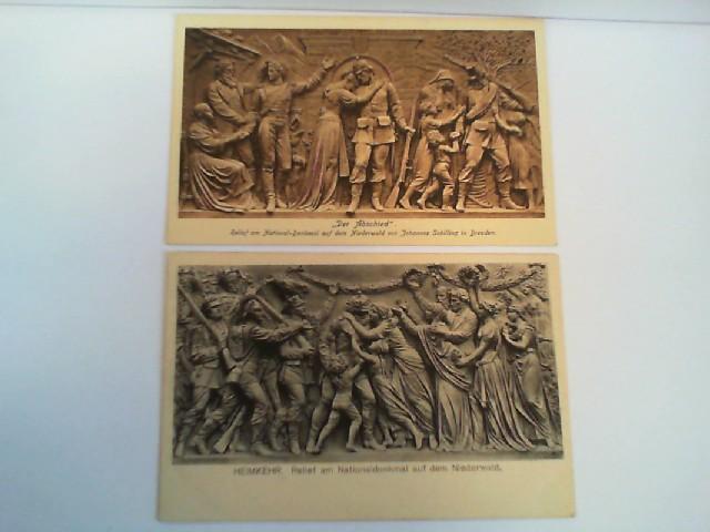 """2 Foto-AK Nationaldenkmal auf dem Niederwald; Relief """"Der Abschied"""", Relief """"Heimkehr"""""""