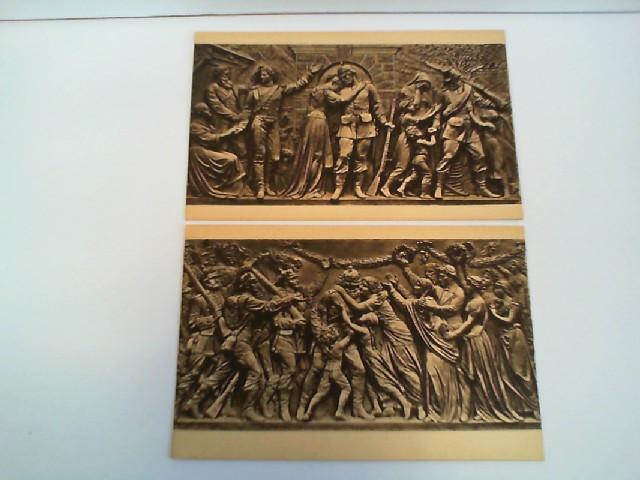 """2 Foto-AK National-Denkmal auf dem Niederwald; Relief """"Der Abschied"""", Relief """"Das Wiedersehen"""""""
