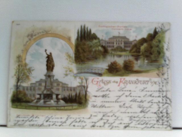 AK Gruss aus Frankfurt a./M.; Lithographie; Zoologischer Garten Concert-Haus, Schützen-Brunnen
