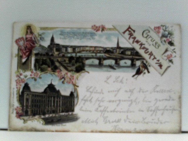 AK Gruss aus Frankfurt a./M.; Lithographie; Panorama mit Mainbrücke, Die neue Post, Stadtwappen; mit Gedicht: Wenn heut man einen Ausflug macht ....