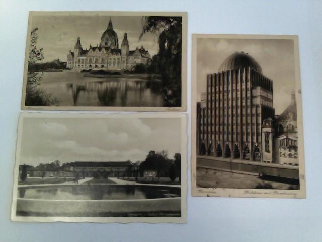 3 Foto-Ak Hannover, Konvolut; Rathaus, Schloss Herrenhausen, Hochhaus mit Planetarium