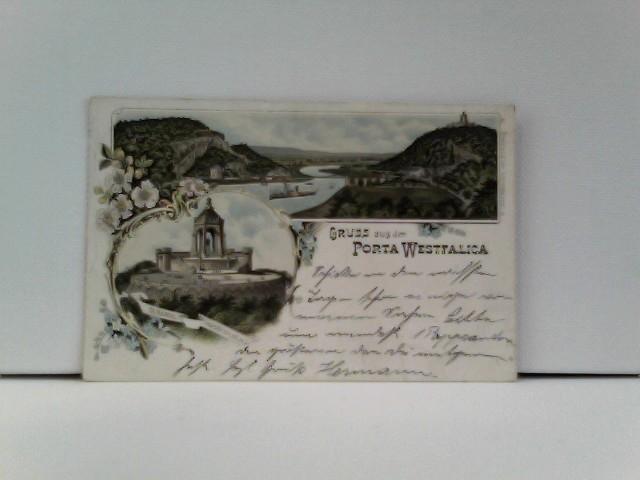 AK Gruss aus Porta Westfalica; Lithographie; Panorama, Denkmal Kaiser Wilhelm I.