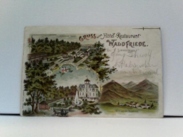 sehr seltene AK Gruss vom Hotel-Restaurant Waldfriede (bei Darmstadt?), Bes. H. Zimmermann, Hotelansicht, Wäldchen mit Garten, Blick zur Bergstrasse