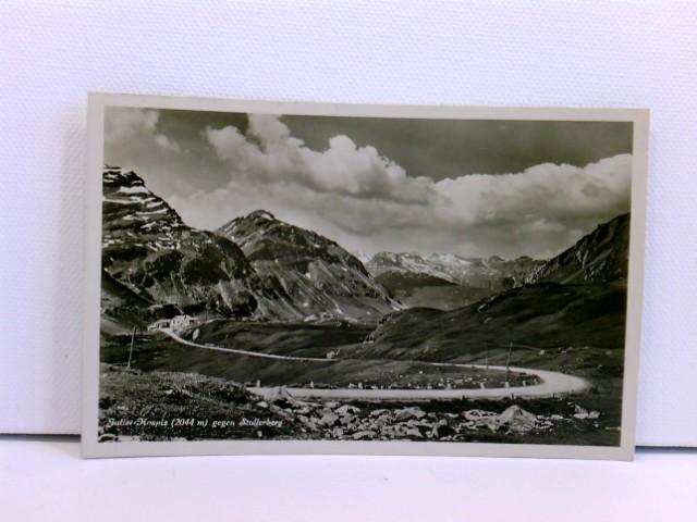 Foto-AK Julier-Hospiz (2044 m) gegen Stallerberg (Graubünden) mit Stempel Julier-Hospiz