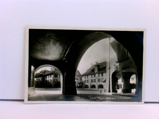 seltene Foto-AK Thun, Rathaus mit Arkaden