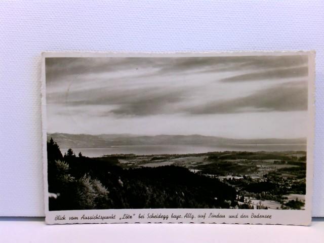 """AK Scheidegg bayr. Allg., Blick vom Aussichtspunkt """"Lötz"""" auf Lindau und den Bodensee"""