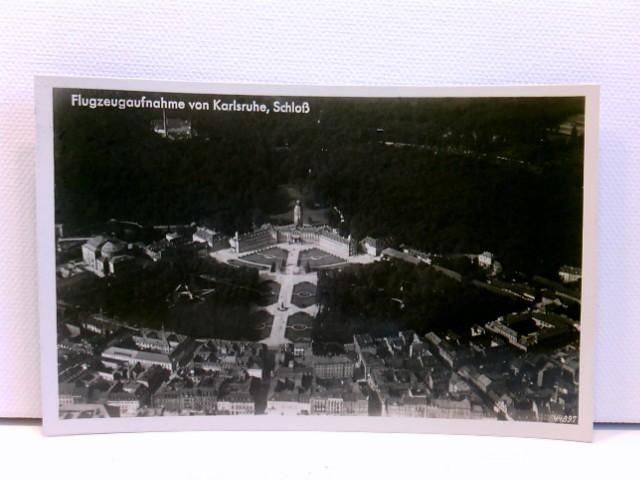 AK Karlsruhe, Schloß, Flugzeugaufnahme; Luftaufnahme; Zugstempel