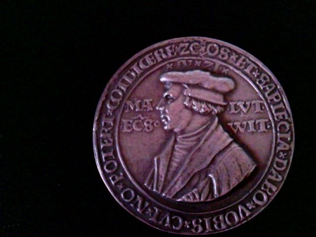 Martinus Lutherus Ecclesiates Wittenbergensis. Rückseite Lutherrose. Bibelzitat als Umschrift (Jesaia 30, 15)