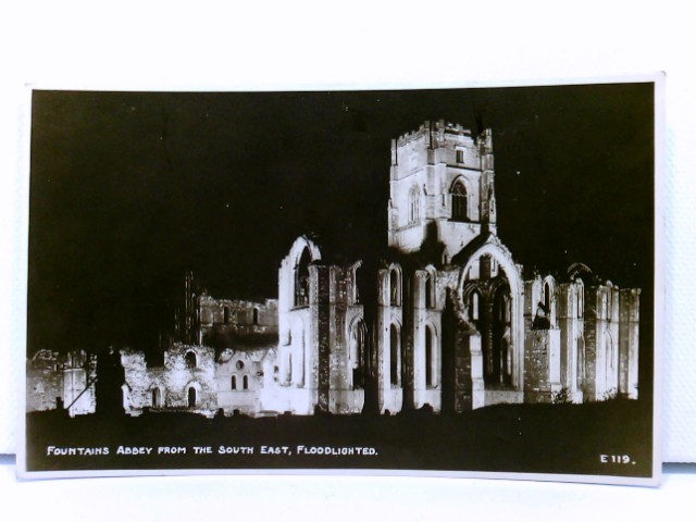 seltene AK Fountains Abbey from the South East, Floodlighted; Yorkshire; Großbritannien