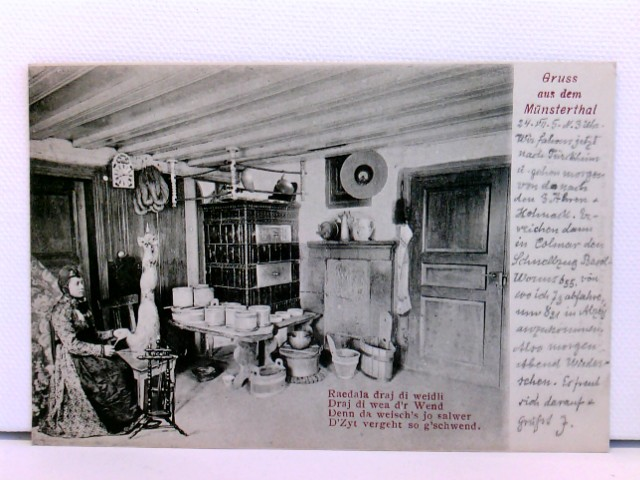 seltene AK Gruss aus dem Münsterthal; 1905; Münstertal, Oberengadin