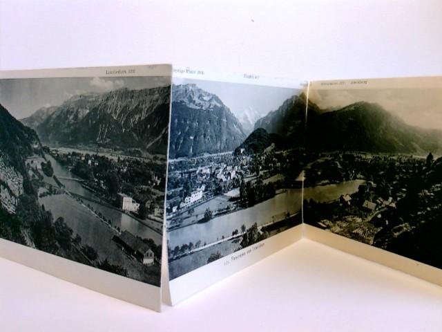 seltene Klapp-AK/Panorama-AK 3-tlg. Panorama von Interlaken mit Bezeichnung der umliegenden Berge