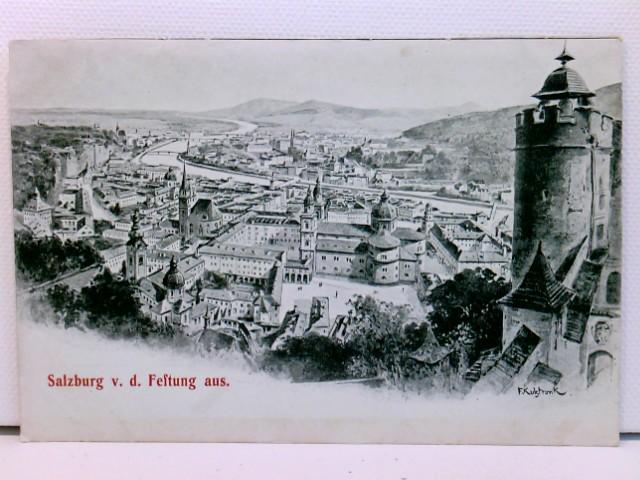 Künstler-AK Salzburg von der Festung aus; Franz Kohlstrunk; um 1900