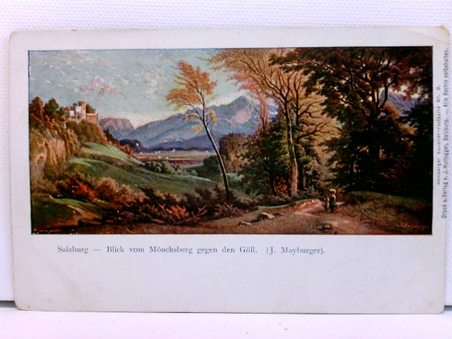 Künstler-AK Salzburg - Blick vom Mönchsberg gegen den Göll; J. Mayburger; coloriert, um 1900