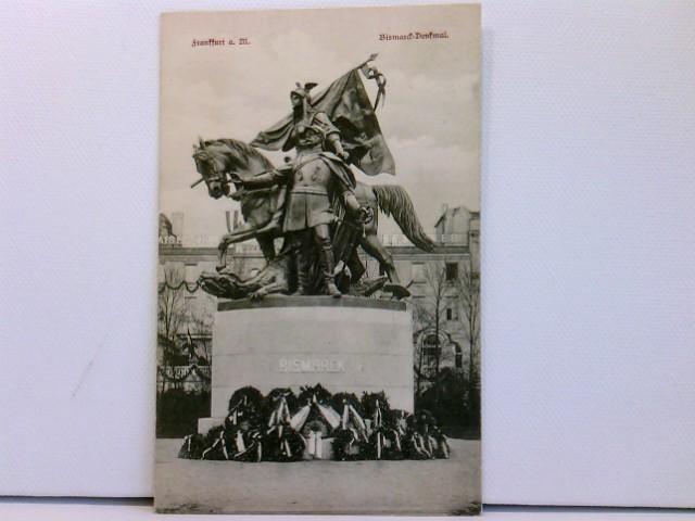 AK Frankfurt a. M., Bismarck-Denkmal; mit Kränzen, 1908