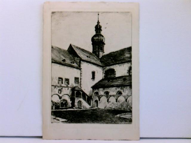 Künstler-AK Kloster Eberbach / Rheingau, Malerischer Winkel im Kreuzgarten; H. Landgrebe; Eltville, 1959
