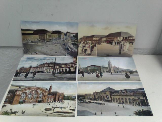 Sechs Postkarten mit Bahnhofsansichten - Hamburg, Bremen, Karlsruhe, Dresden, Leipzig, Hannover - aus der Reihe: Deutsche Eisenbahn Edition EBE - Band: 01055, REPRINT