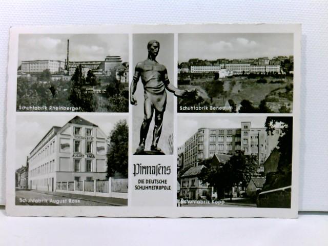 Mehrbild-AK Pirmasens; 5 versch. Ansichten (4 Schuhfabriken); ungelaufen, datiert 1951