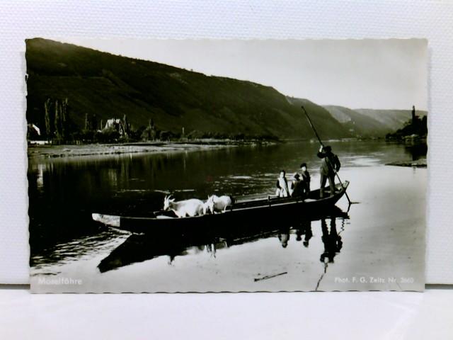 AK Moselfähre; Boot mit Fährmann, Passagieren und Ziegen; ungelaufen