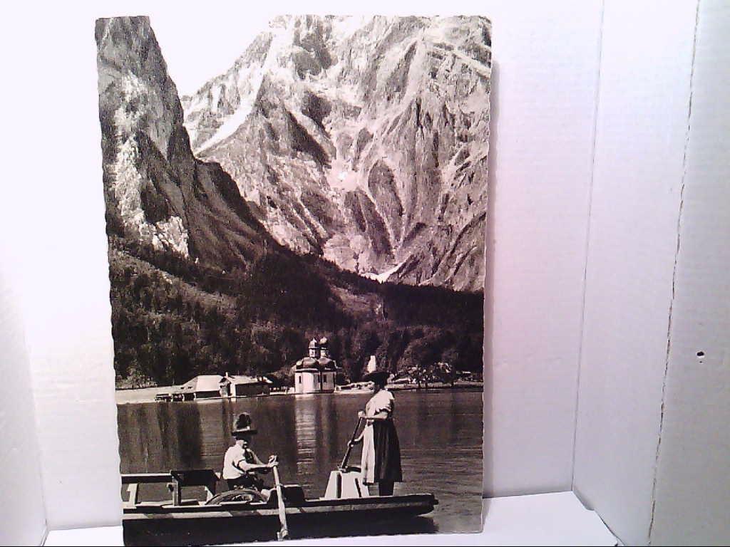 AK St. Bartholomä am Königsee mit Watzmann Ostwand Österreich Ausflugspaar auf Boot Trachten.