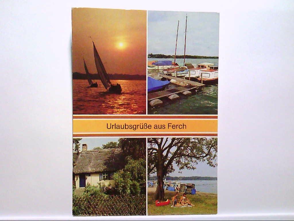 AK Ferch/Podsdam Urlaubsgrüße aus....Mehrbildkarte, Abendstimmung, Bootshafen, Fischerhaus, Badestelle am Schwielowsee, Ungelaufen.