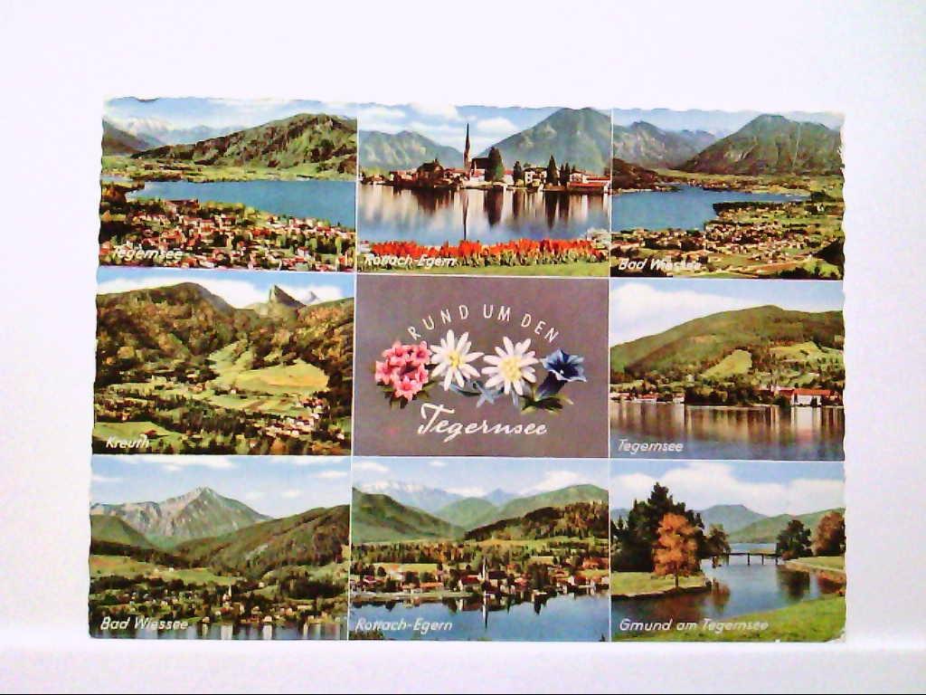 AK Rund um den Tegernsee, Mehrbildkarte, Tegernsee, Rottach-Egern, Kreuth, Bad Wiessee, Gelaufen.