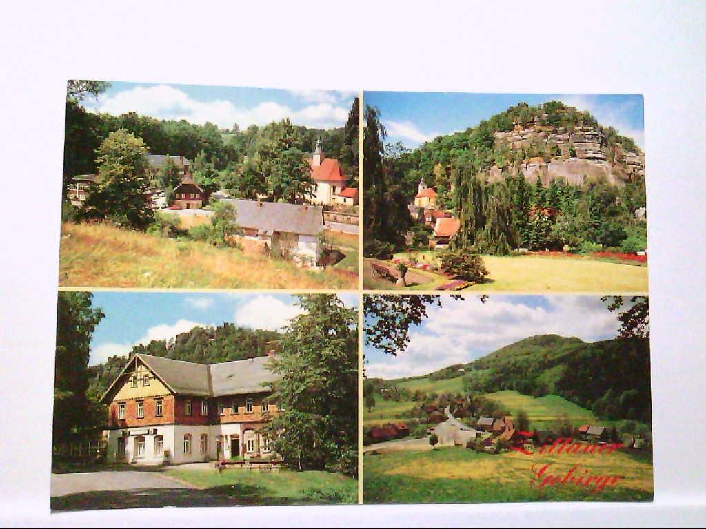 """AK Zittauer Gebirge, Mehrbildkarte, 4 Abb., mit Lückendorf, Oybin, Jonsdorf und Waltersdorf a.d. Lausche, Ausfluggaststätte """" Gondelfahrt """" mit Nonnenfelsen. Ungelaufen."""