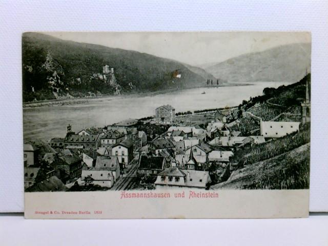 AK Assmannshausen und Rheinstein; ungelaufen, um 1900