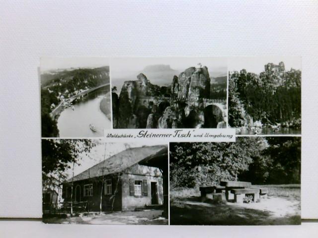 """Mehrbild-AK Waldschänke """"Steinerner Tisch"""" und Umgebung; Wehlen; 5 versch. Ansichten; ungelaufen, ca. 1974"""