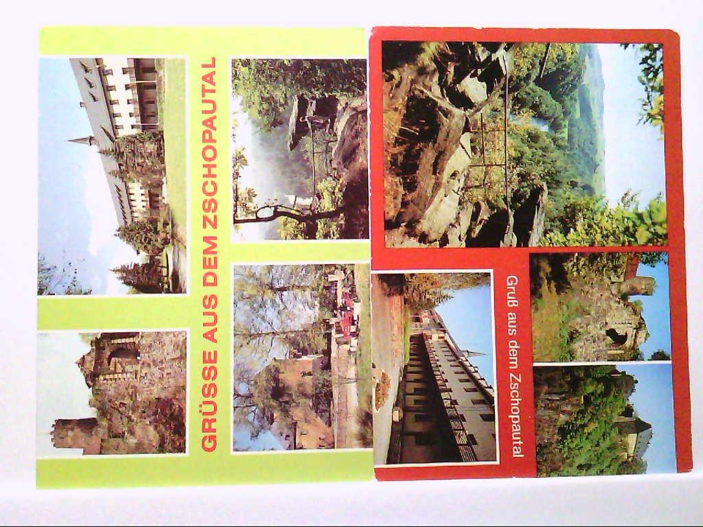 2 AK´s Zschopautal, Mehrbildkarten, Wolkensteiner Schweiz, Burg Scharfenstein, etc... 1986, Gelaufen.