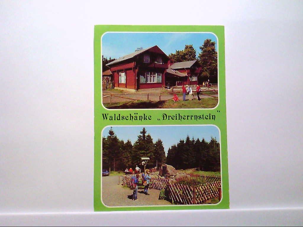"""AK Brotterode/Thür.Wald, Waldschänke""""Dreiherrnstein"""", Außenansichten, Personen, 1986, Gelaufen."""