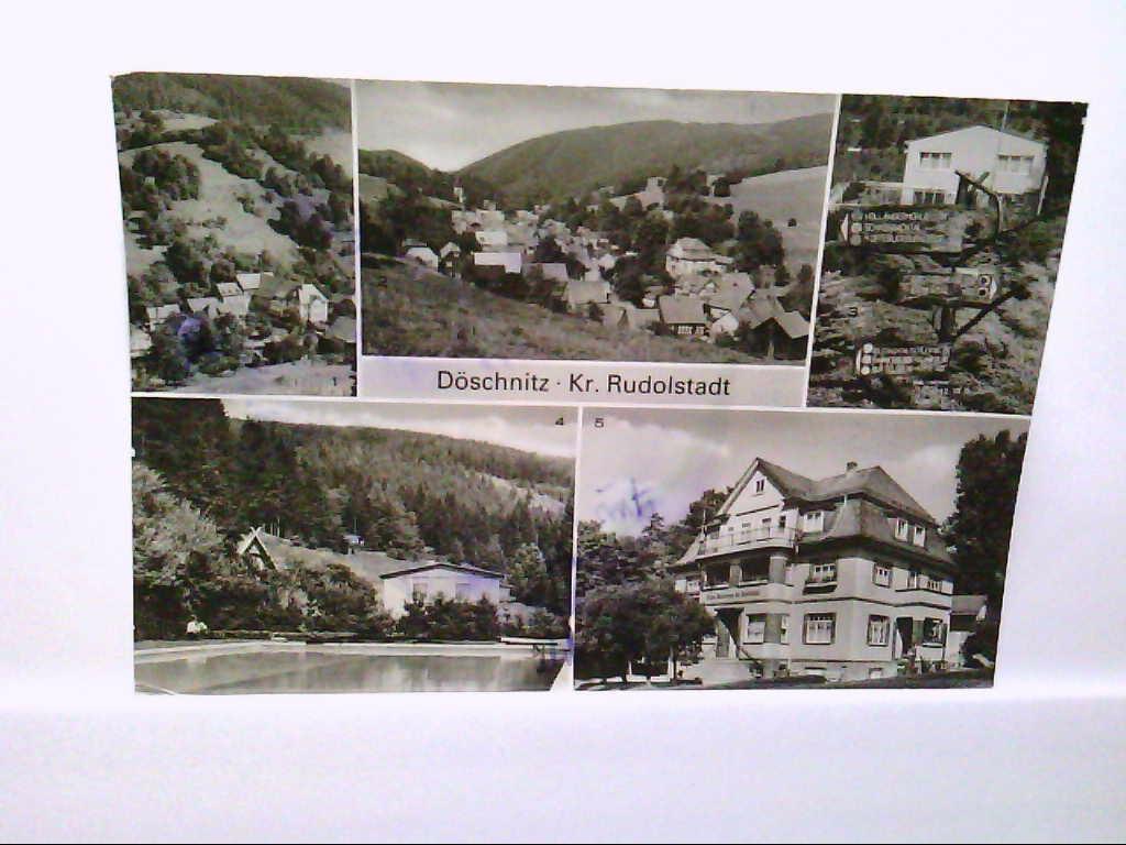 AK Döschnitz, Mehrbildkarte, Teilansicht, Übersicht, Wegweiser, Im Schaßbachtal, Haus Sonnenau, Echt Foto, Ungelaufen.