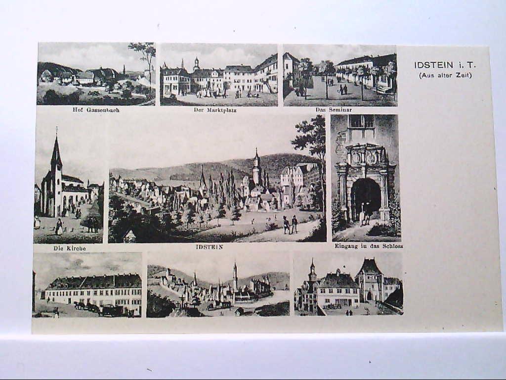 AK Idstein/Taunus, Mehrbild, Aus alter Zeit, Marktplatz,Hof Gassenbach, Das Seminar, Gesamt, Kirche, 9 Abb., 1925, Ungelaufen.