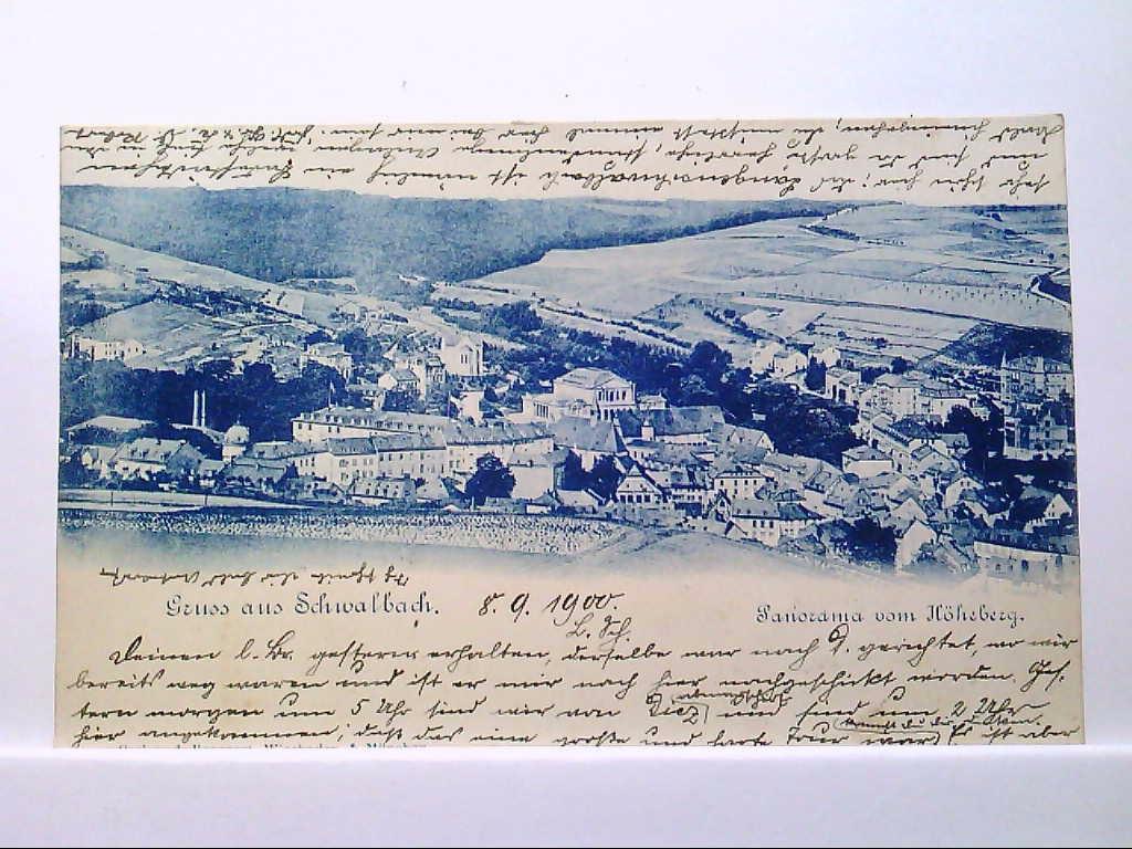 AK Schwalbach, Gruss aus Schwalbach, Panorama vom Höheberg, 1900, Gelaufen.