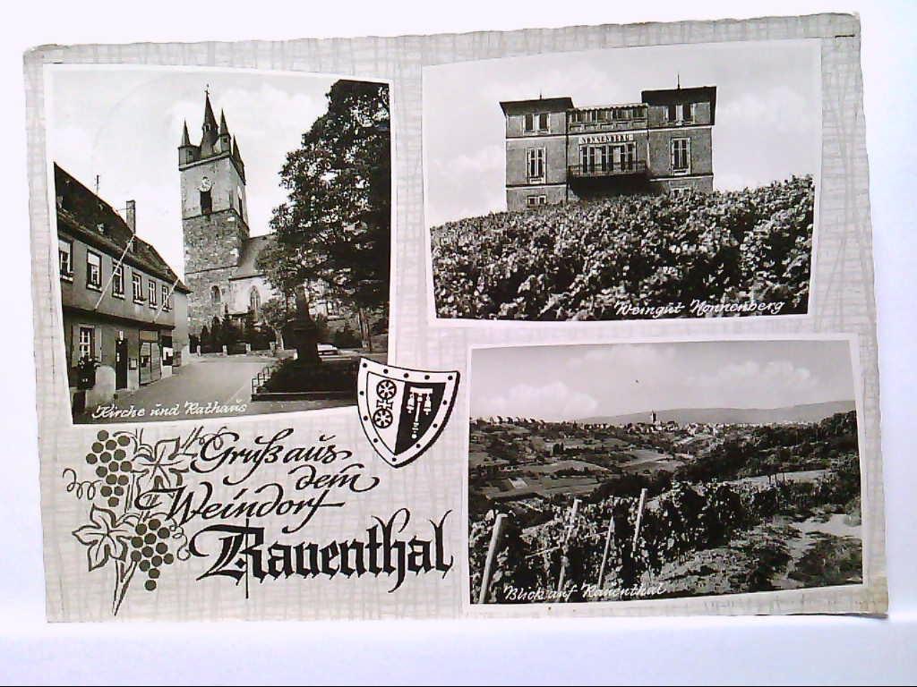 AK Rauenthal im Rheigau, Mehrbild, Kirche und Rathaus, Weingut Nonnenberg, Teilansicht, 1964, Gelaufen.