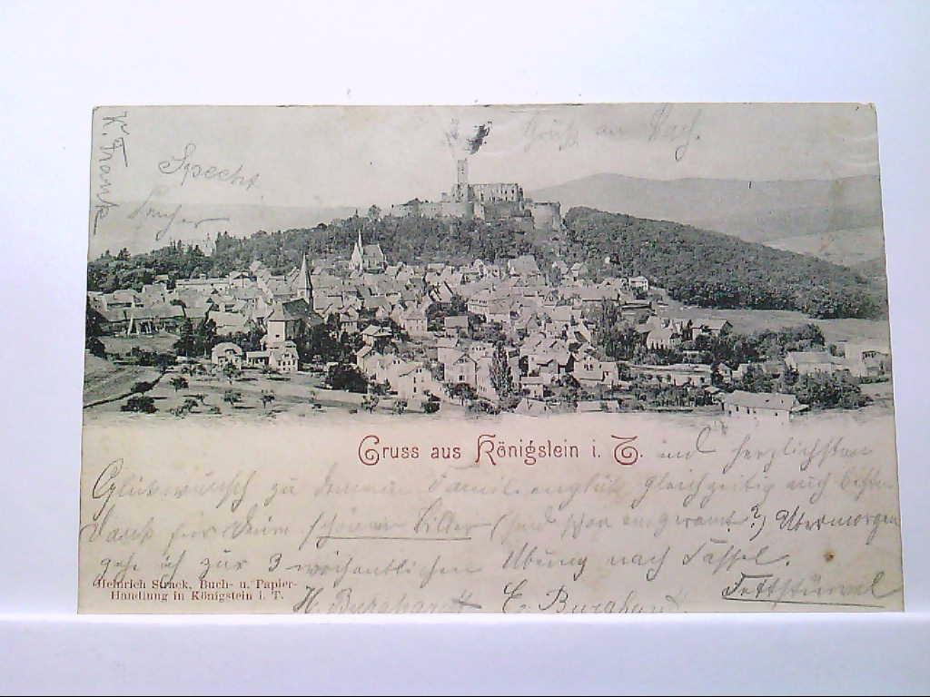 AK Königstein im Taunus, Gruss aus Königstein i.T., Ortsansicht, Panoramaansicht, 1899, Gelaufen.