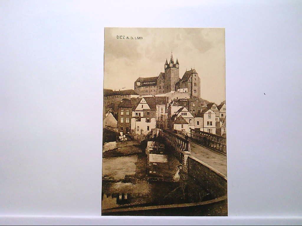 AK Diez an der Lahn, Blick auf die Lahnbrücke und das Schloss, Häuser, Person, 1909, Gelaufen.