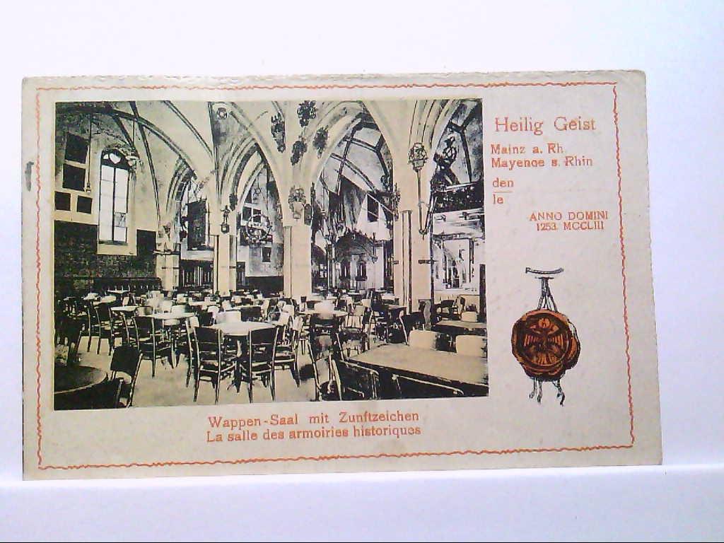 AK Mainz, Restaurant Heilig Geist, Wappen-Saal mit Zunftzeichen, Innenansicht, Siegel, 1925, Gelaufen.