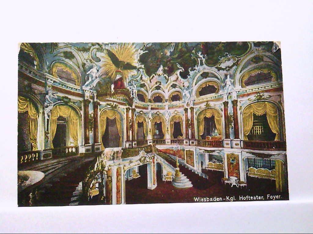 AK Wiesbaden, Kgl. Hoftheater, Foyer, Innenansicht, Farbig, Künstlerkarte, 1920, Ungelaufen.