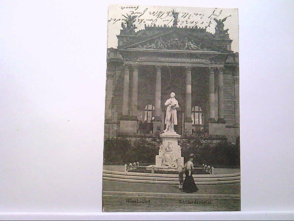 AK Wiesbaden, Schillerdenkmal, Dame mit Kind, Gebäudeansicht, 1908, Gelaufen.