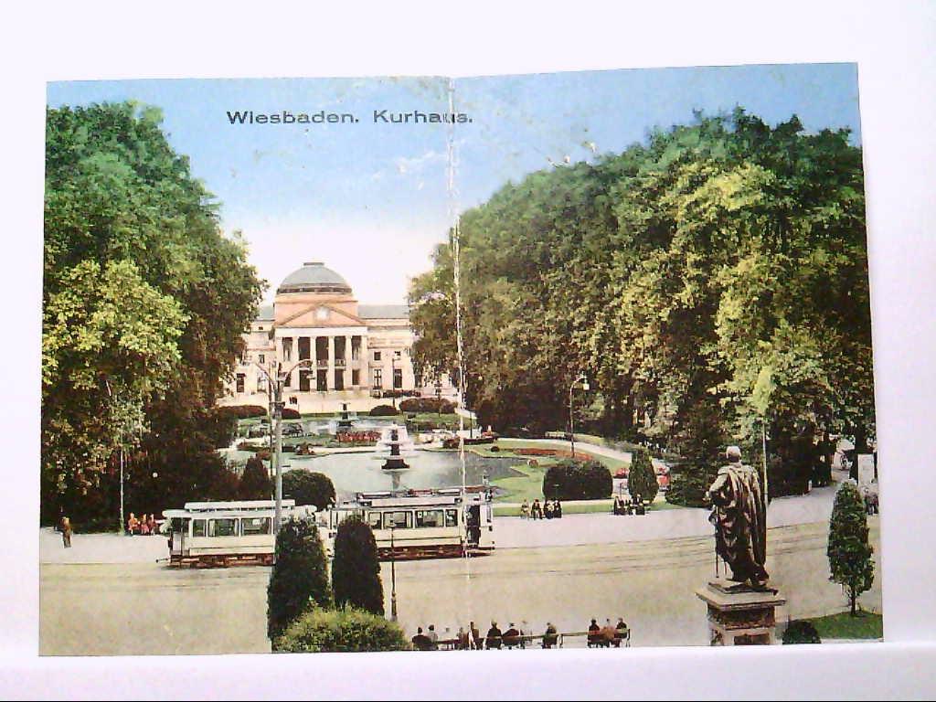 AK Wiesbaden, Kurhaus, Panoramaansicht, Strassenbahn, Personen, Gebäude, Ungelaufen.