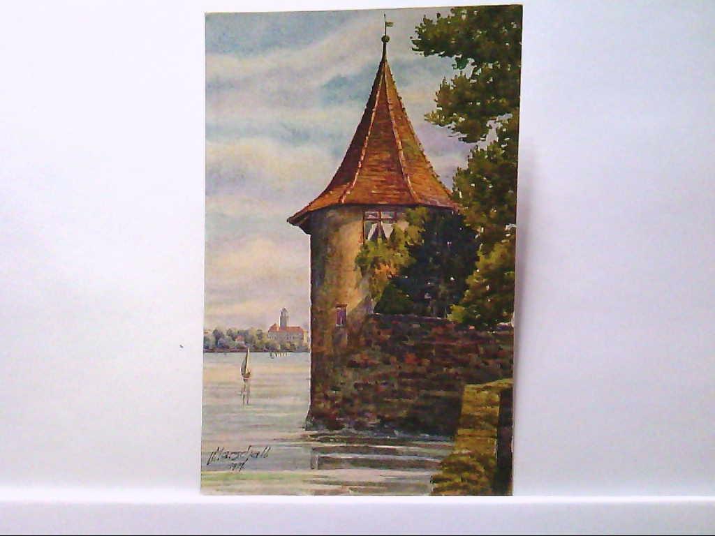 AK Lindau im Bodensee, Künstlerkarte von J.Marschall, Pulverturm und Blick nach Bad Sachen, Ungelaufen.