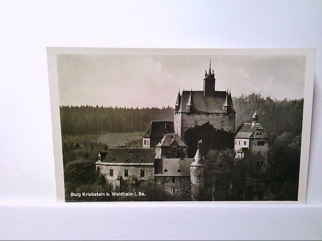 AK Kriebstein/Waldhaus, Burg Kriebstein bei Waldhaus in Sachsen, Panoramaansicht, Echte Photografie, Ungelaufen.