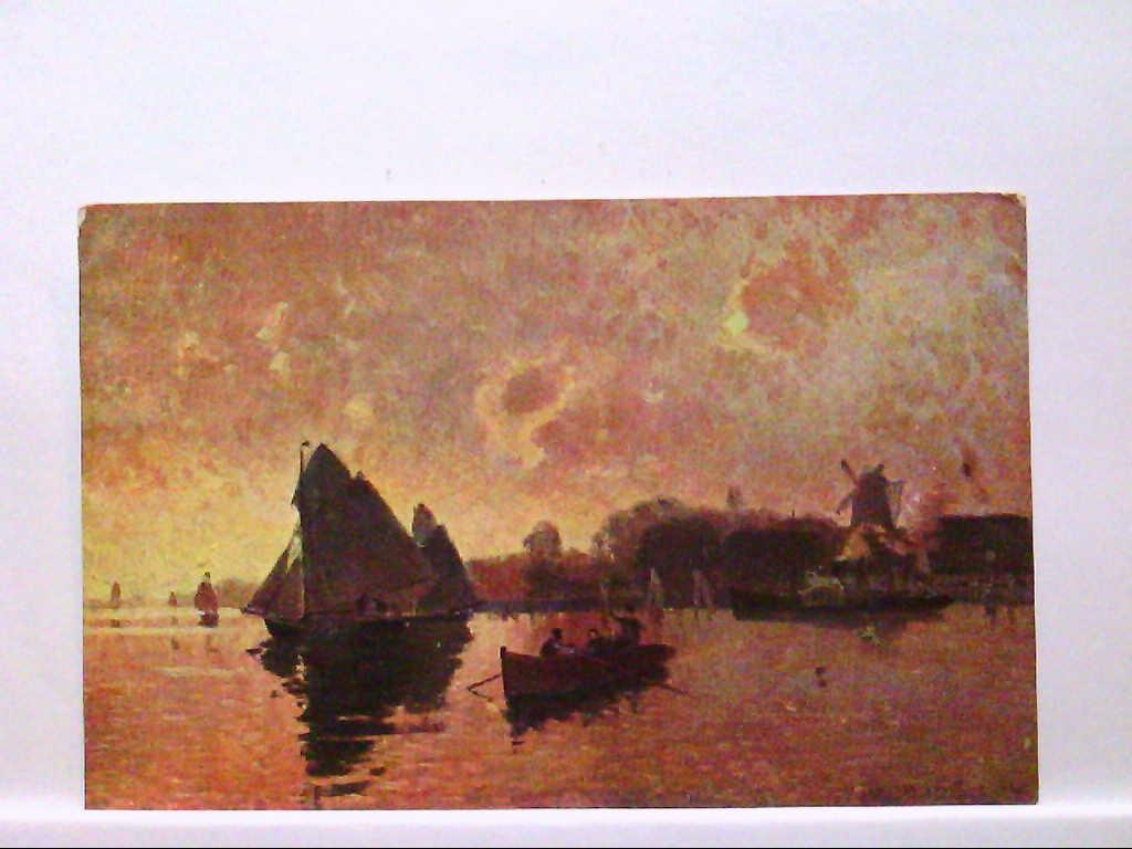 AK Künstlerkarte, Abendstimmung  mit Windmühle und Booten, Personen, F.J.Broili, Nr. 32, Ungelaufen.