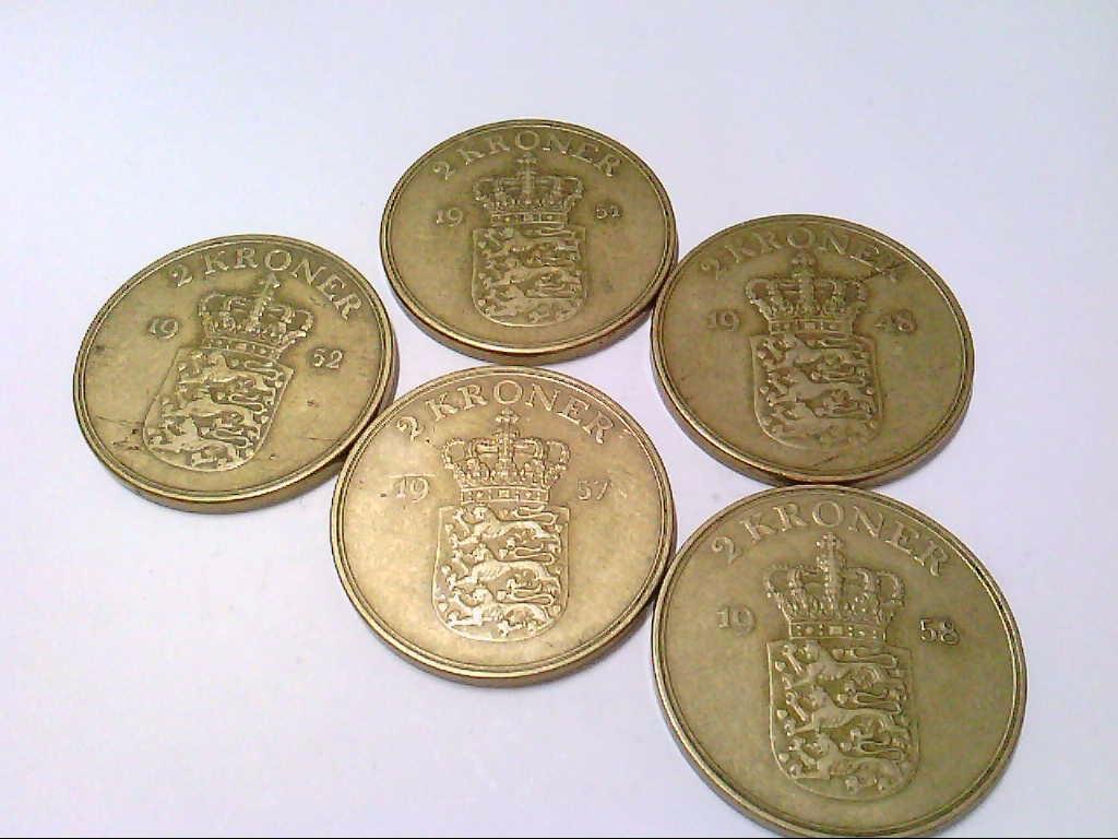 Danmark / Dänemark, 5 x 2 Kronen, Umlaufmünzen.