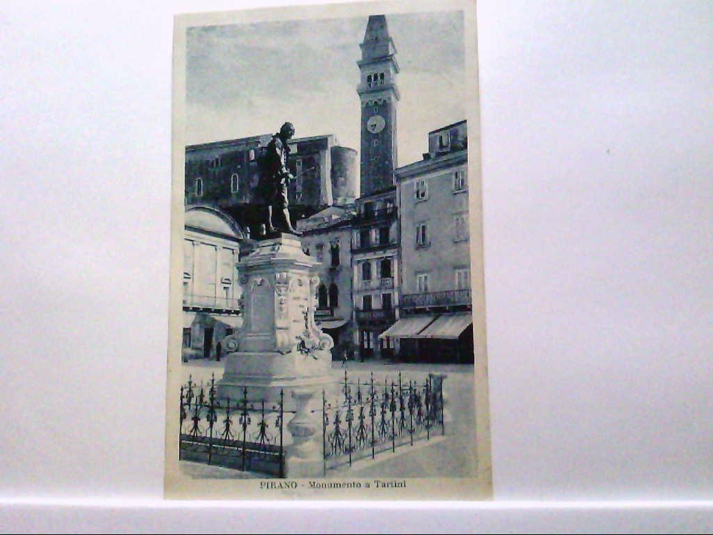 AK Pirano / Piran / Slowenien, Monumento a Tartini, Panorama.