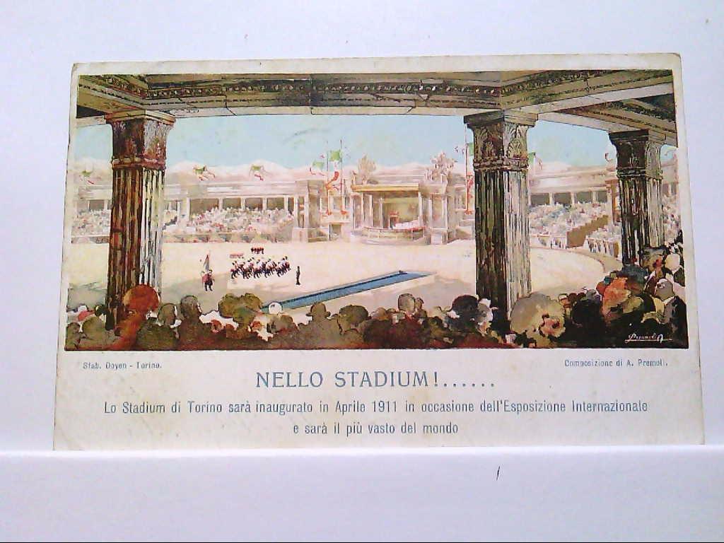 AK Torino / Italien, Künstlerkarte, Nello Stadium!.... Lo Stadium di Torini sara inaugurato....