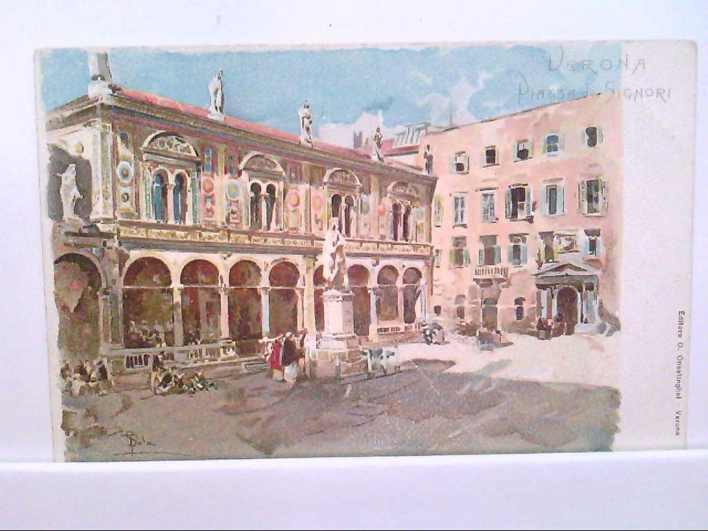 AK Verona / Italien, Piazza de Signori, Künstlerkarte.